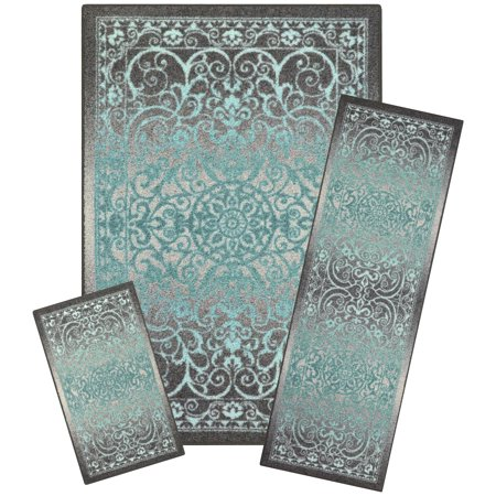 Mainstays India Medallion Nylon Textured Print 3-Piece Area Rug Set ()