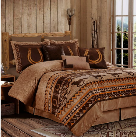 Luxury Microsuede Queen Comforter (Chezmoi Collection Sedona 7-Piece Southwestern Wild Horses Microsuede Comforter)
