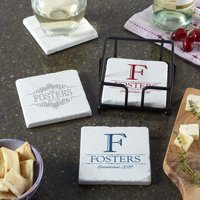 Personalized Decorative Family Name Marble Coasters - Available in 2 Designs and 4 Colors