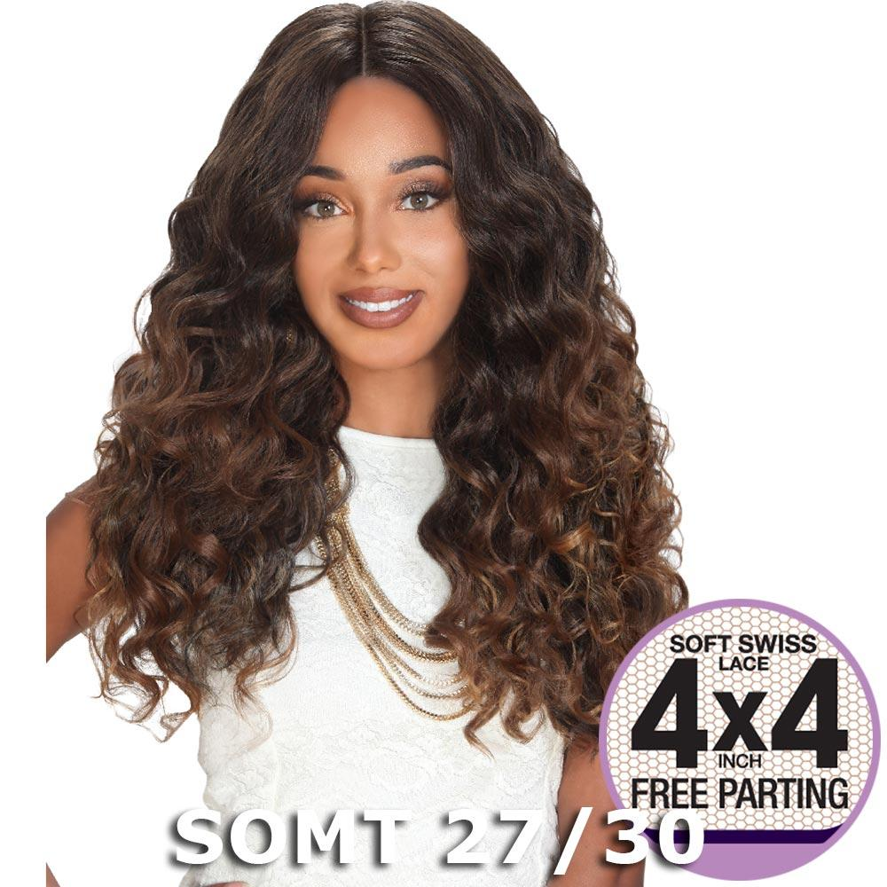 """Sis Prime Human Hair Blend 4""""X4"""" Lace Front Wig - ZION (SOM Rose)"""