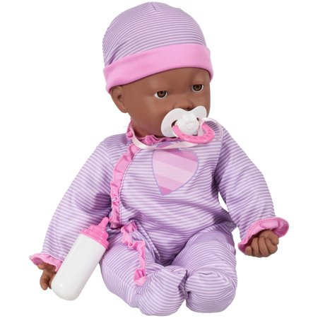 My sweet love 3-piece interactive baby doll set, designed for ages 3 and up (Black Baby Doll)