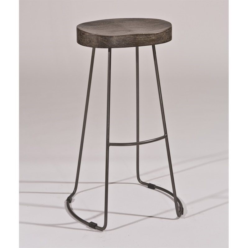 Hobbs Tractor Non-Swivel Bar Stool, Distressed Black Pewter Finish by Hillsdale Furniture