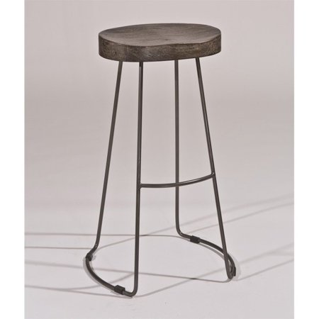 Hillsdale Hobbs Tractor Non-Swivel Bar Stool, Distressed Black/Pewter Finish ()