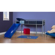 Boys Twin Loft Bed With Slide Grey And Blue Image 3 Of