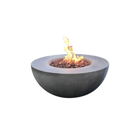 Modeno Outdoor Roca Fire Pit Table Grey Durable Round Fire Bowl Glass Fiber Reinforced Concrete Propane Patio Fire Place 34 Inches Electronic Ignition Cover and Lava Rock (Round Concrete)