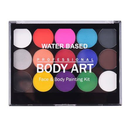 Professional Body Art Face Painting Kit Water Based Removable Body Paints 15 Colors Palette with 2 Paintbrushes and 4 Templates for Costume Makeup Themed Party Supplies - image 5 de 7