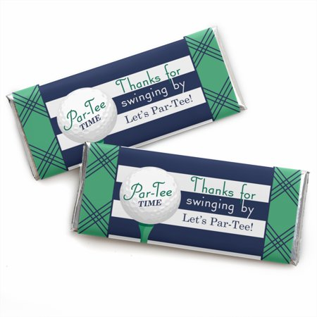 Par-Tee Time - Golf - Birthday or Retirement Party Candy Bar Wrappers Party Favors - Set of 24