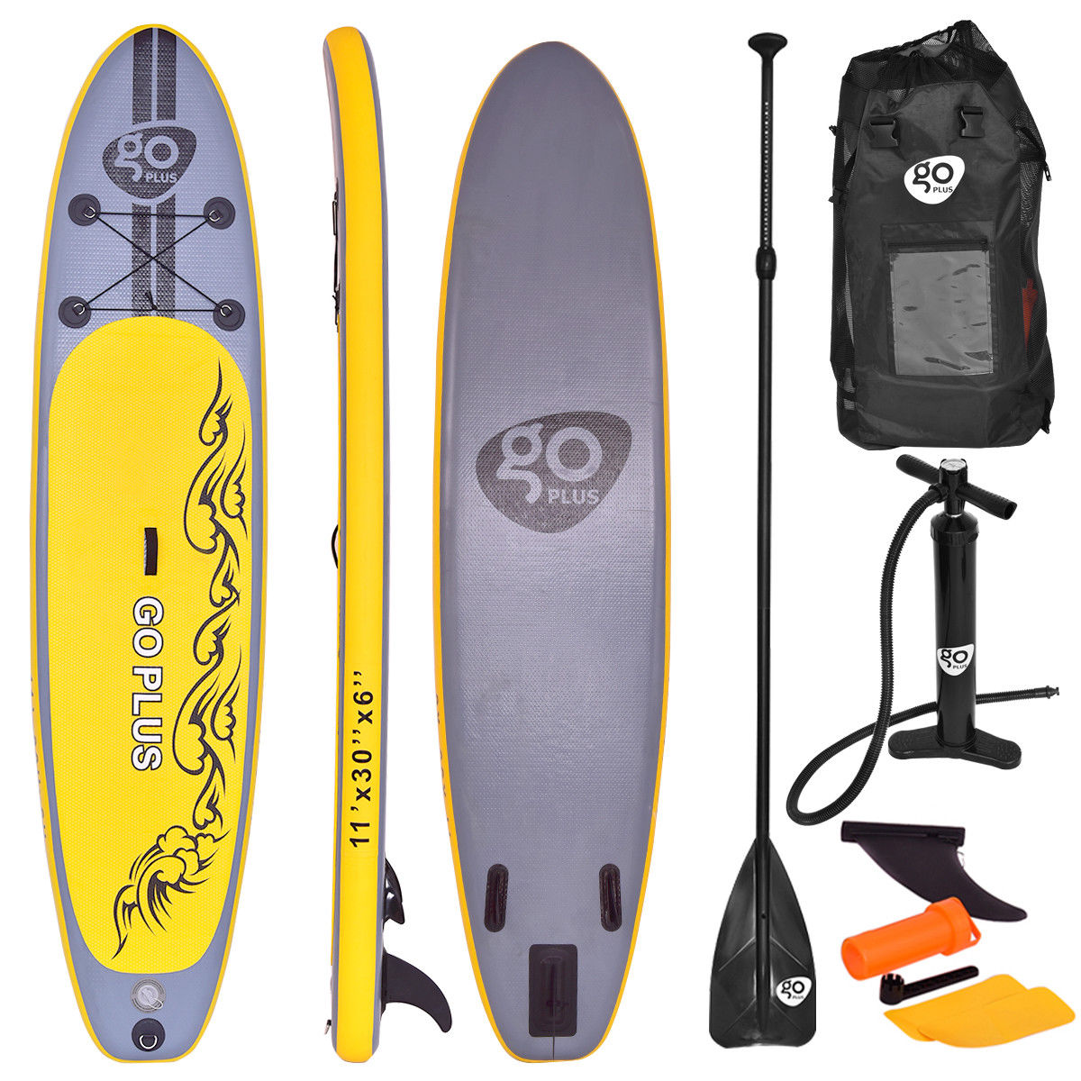 Costway 11' Inflatable Stand Up Paddle Board SUP w  3 Fins Adjustable Paddle Backpack by Costway