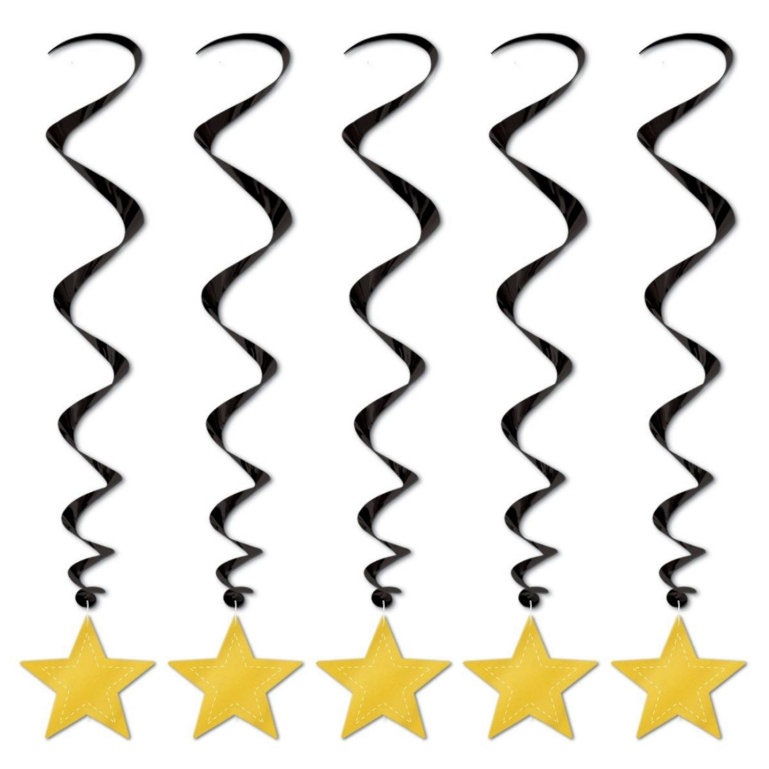 Pack of 30 Metallic Black and Gold Star Dizzy Dangler Hanging Party Decorations 36""