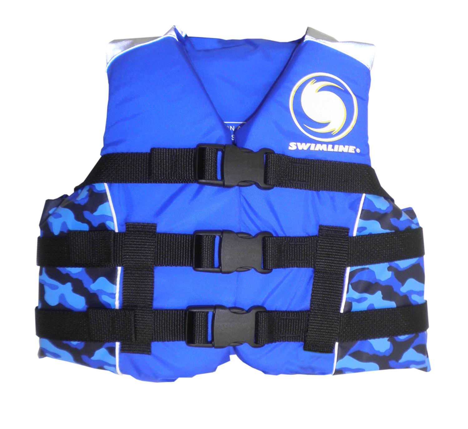USCG Approved Water or Swimming Pool Cool in Blue Camouflage Child Life Vest for Boys - Up to 90lbs