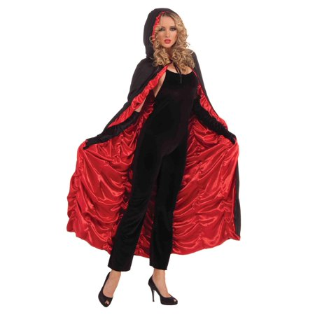 Black And Red Female Hooded Costume Cape One Size Fits Most