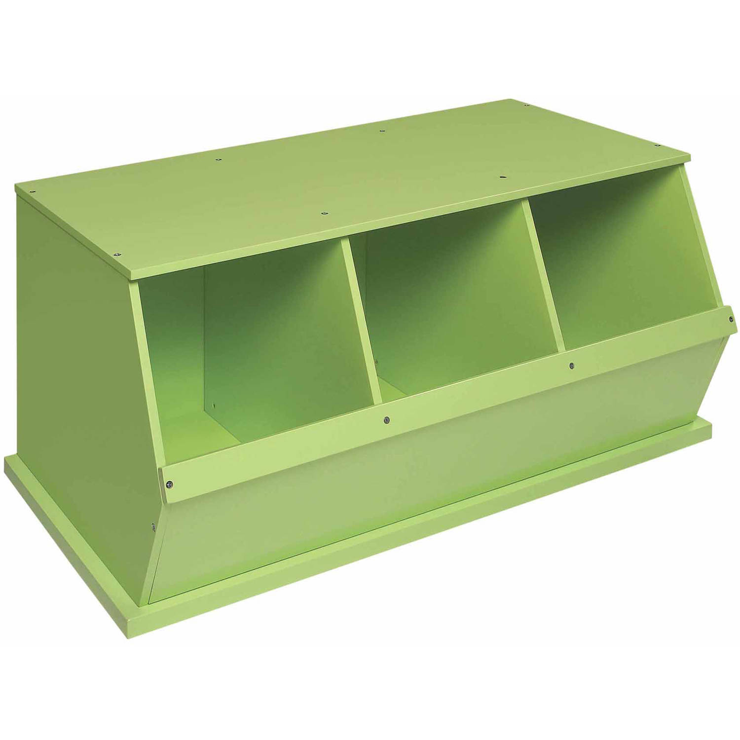 Badger Basket 3-Bin Stackable Wood Storage Cubby Bin, Sage by Badger Basket