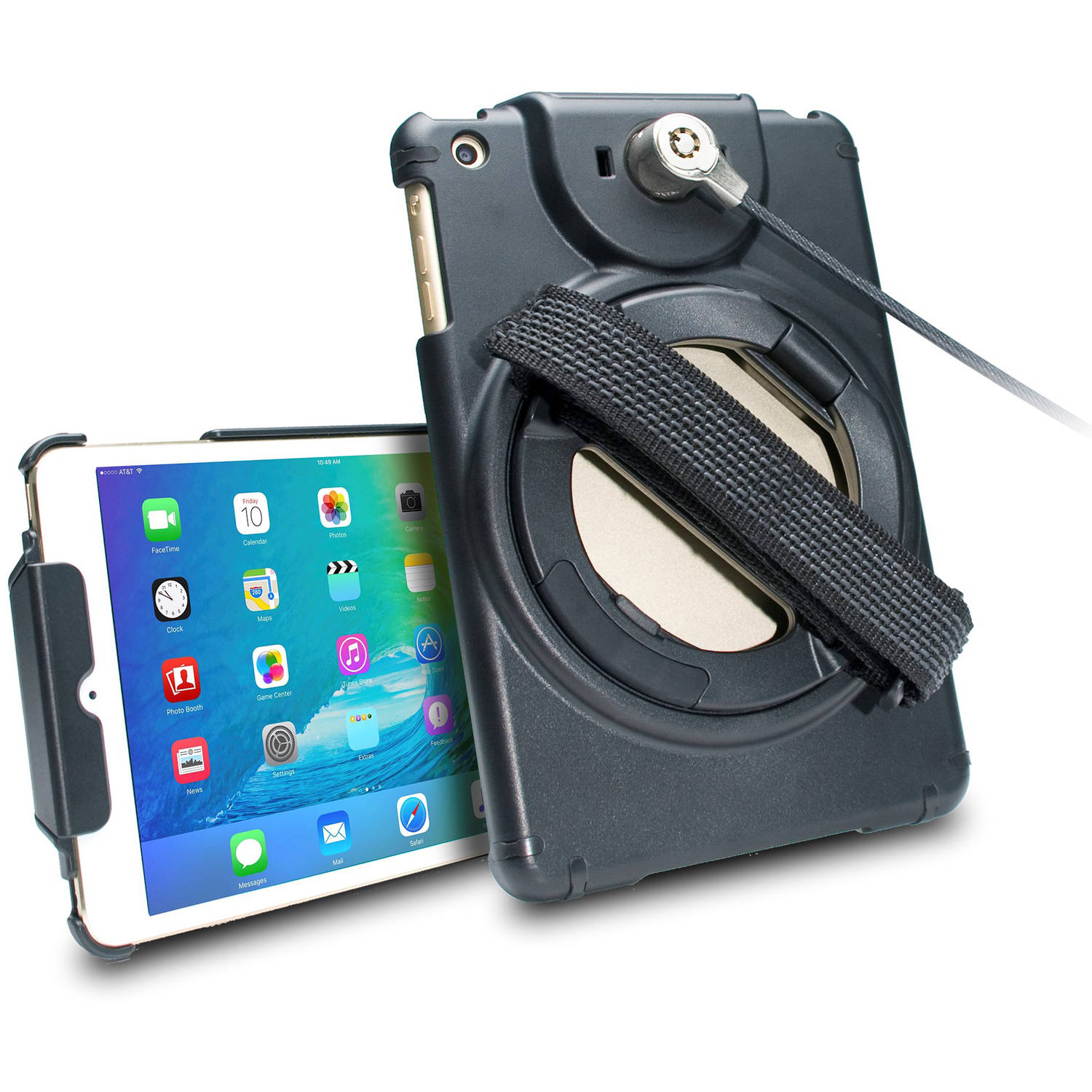 CTA Digital Anti-Theft Case with Built-In Grip Stand for Apple iPad mini