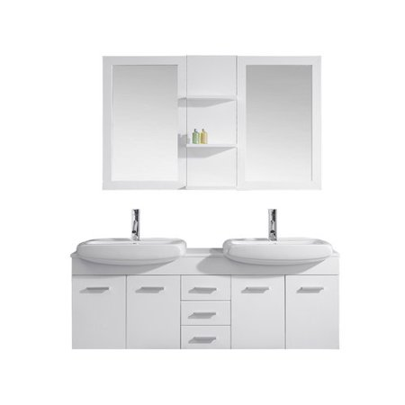 Virtu usa ultra modern series 59 39 39 double bathroom vanity set with white stone top and mirror for Ultra bathroom vanities burbank