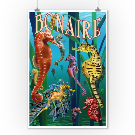 Bonaire, Dutch Caribbean - Seahorses - Lantern Press Poster (9x12 Art Print, Wall Decor Travel Poster) - Caribbean Decor