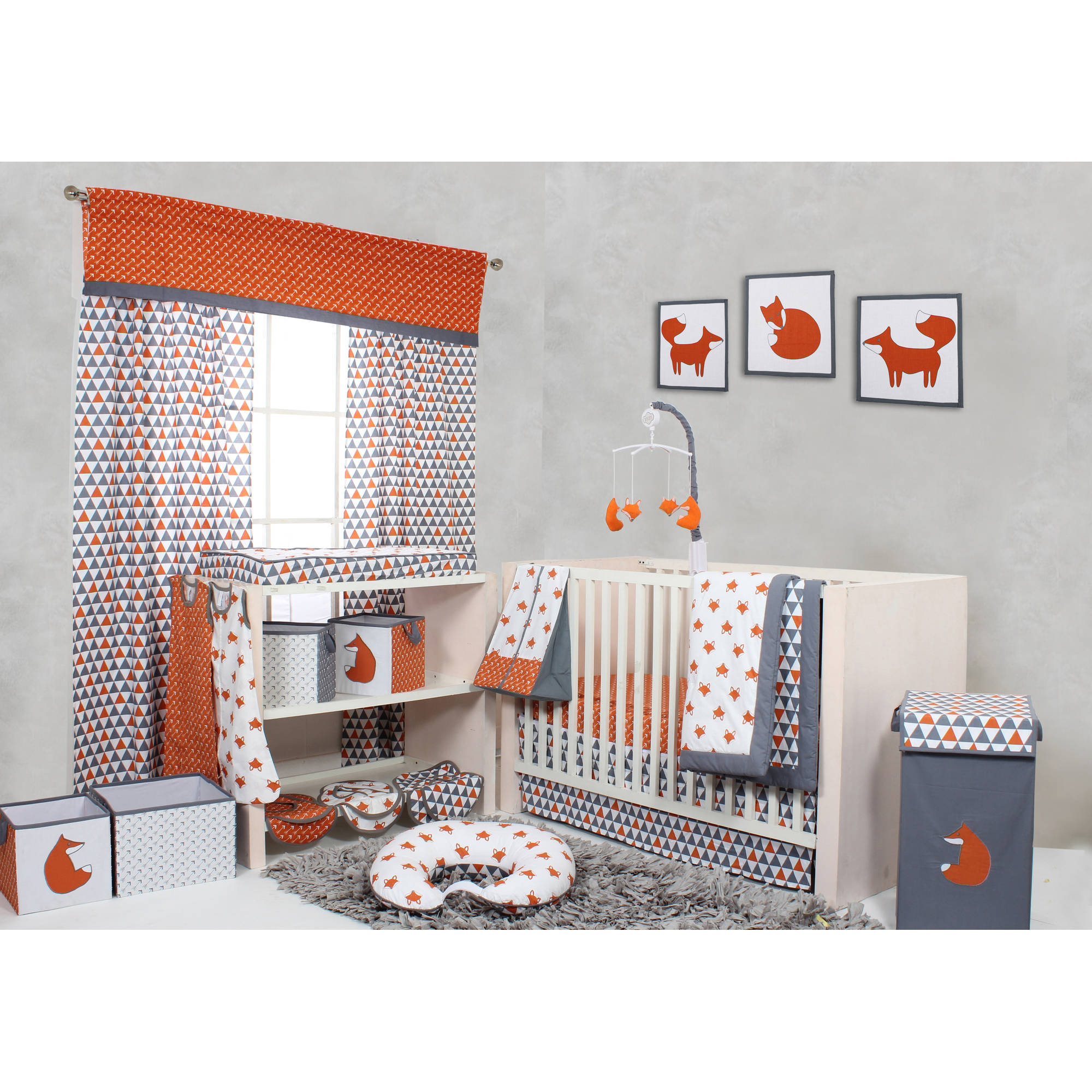 Bacati Playful Foxs Orange/Gray Nursery in a Bag 10-Piece Crib Set without Bumper Pad