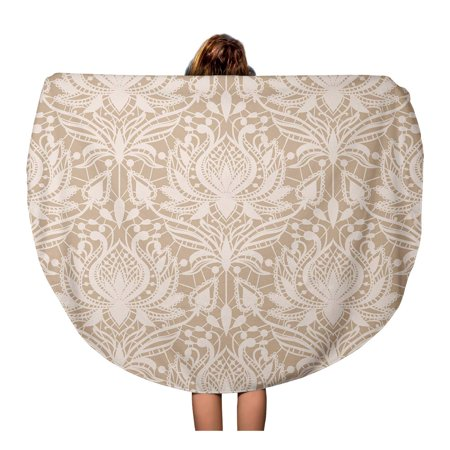 LADDKA 60 inch Round Beach Towel Blanket Beige Delicate Lace Pattern in Vintage Romantic Tatting Drawing Travel Circle Circular Towels Mat Tapestry Beach Throw