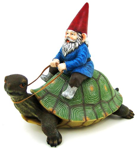 Large Garden Gnome Riding Turtle Statue Patio Pool, 16 in tall, 17 in long, 9.5 in deep By Private Label by