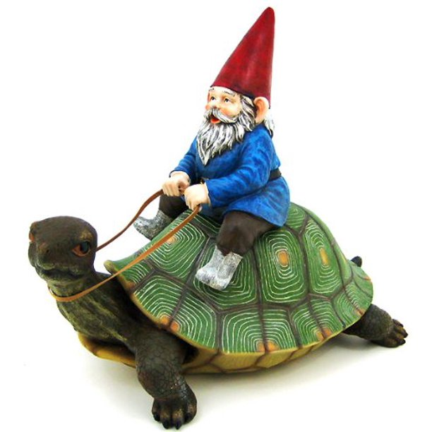 Large Garden Gnome Riding Turtle Statue Patio Pool, 16 in tall, 17 in long, 9.5 in deep By Private Label