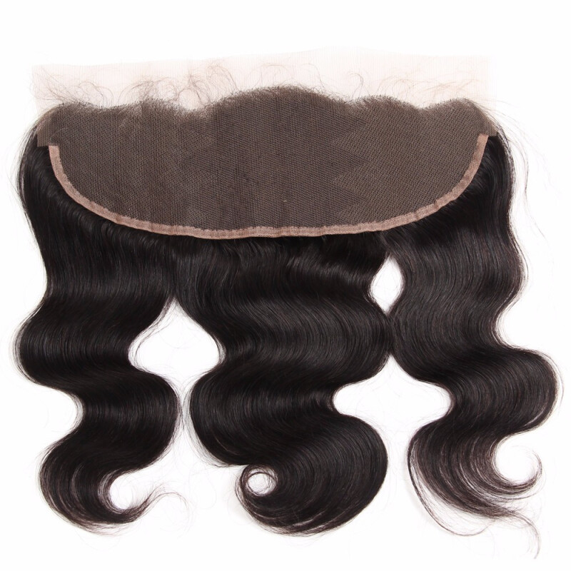 """HCDIVA Brazilian Virgin Body Wave Lace Frontal Free Part Ear to Ear Human Hair Lace Closure Frontal 13""""x4"""" Natural Black, 12"""""""