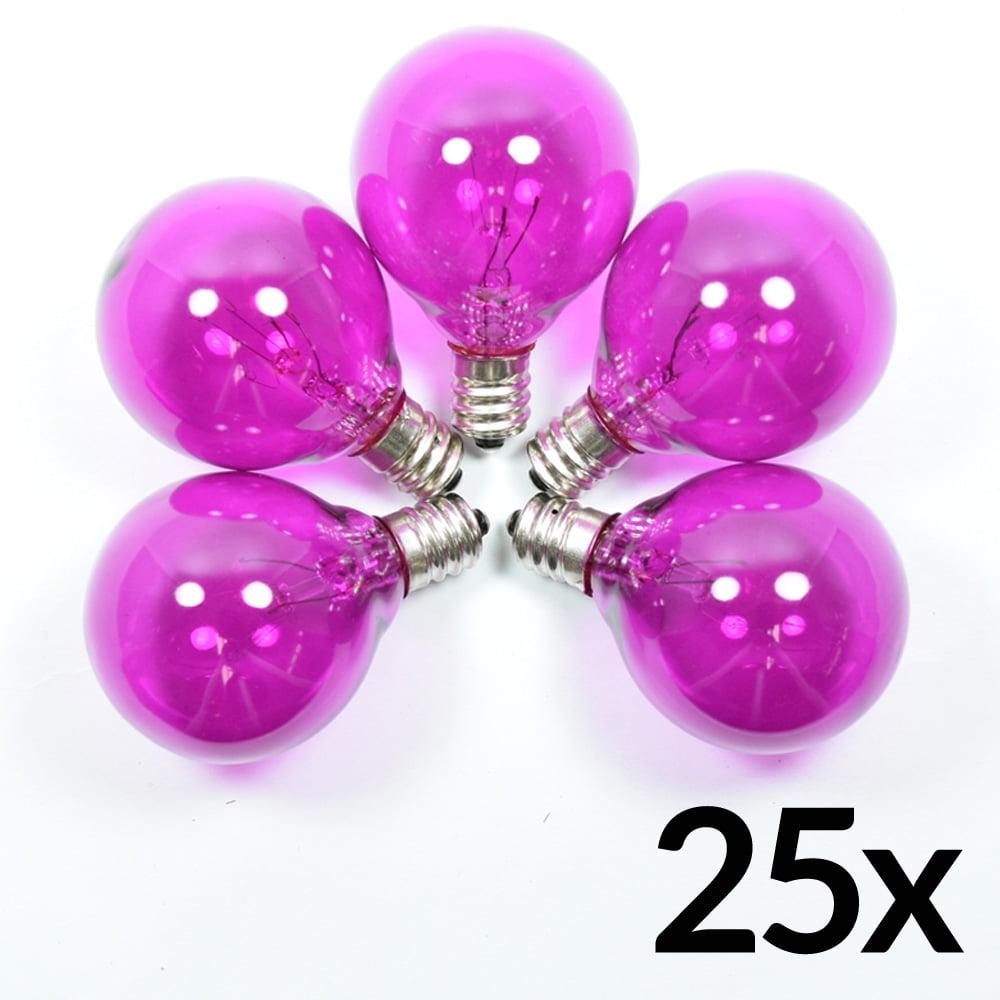 Fantado Transparent Violet 7-Watt Incandescent G40 Globe Light Bulbs, E12 Candelabra Base (25 PACK) by PaperLanternStore