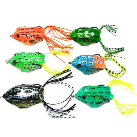 6pcs Frog Snakeheads Bait Fishing Lures Bass Soft (Batik Frogs)