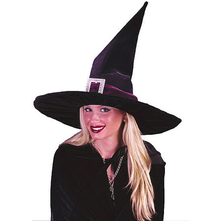 - Pleated Velour Witch Hat Adult Halloween Accessory