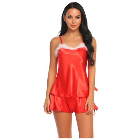 Women ChristmasHoliday Satin Cami Pajamas Set Sleepwear STDTE