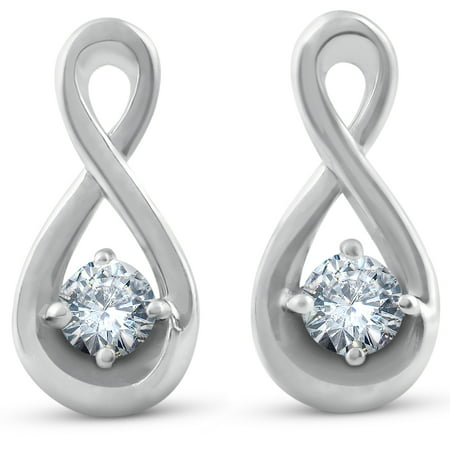1/5ct Diamond Knot Studs Petite 14k White Gold - image 1 of 1