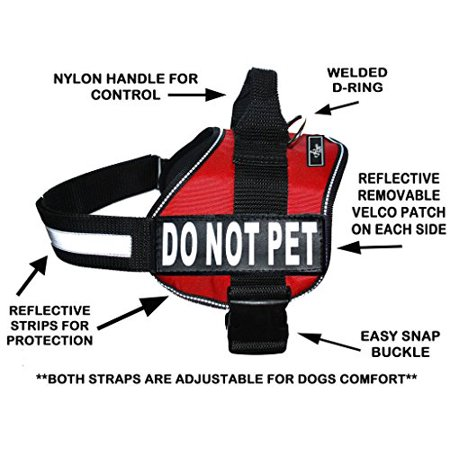DO NOT PET Dog Vest Harness with Removable Patches and Reflective Trim. Comes with 2 DO NOT PET Reflective Removable Patches. Please Measure Dogs Girth Before