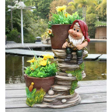 Two Gnome - SINTECHNO Cute Gnome on Rock Staircase with Two Flower Pots