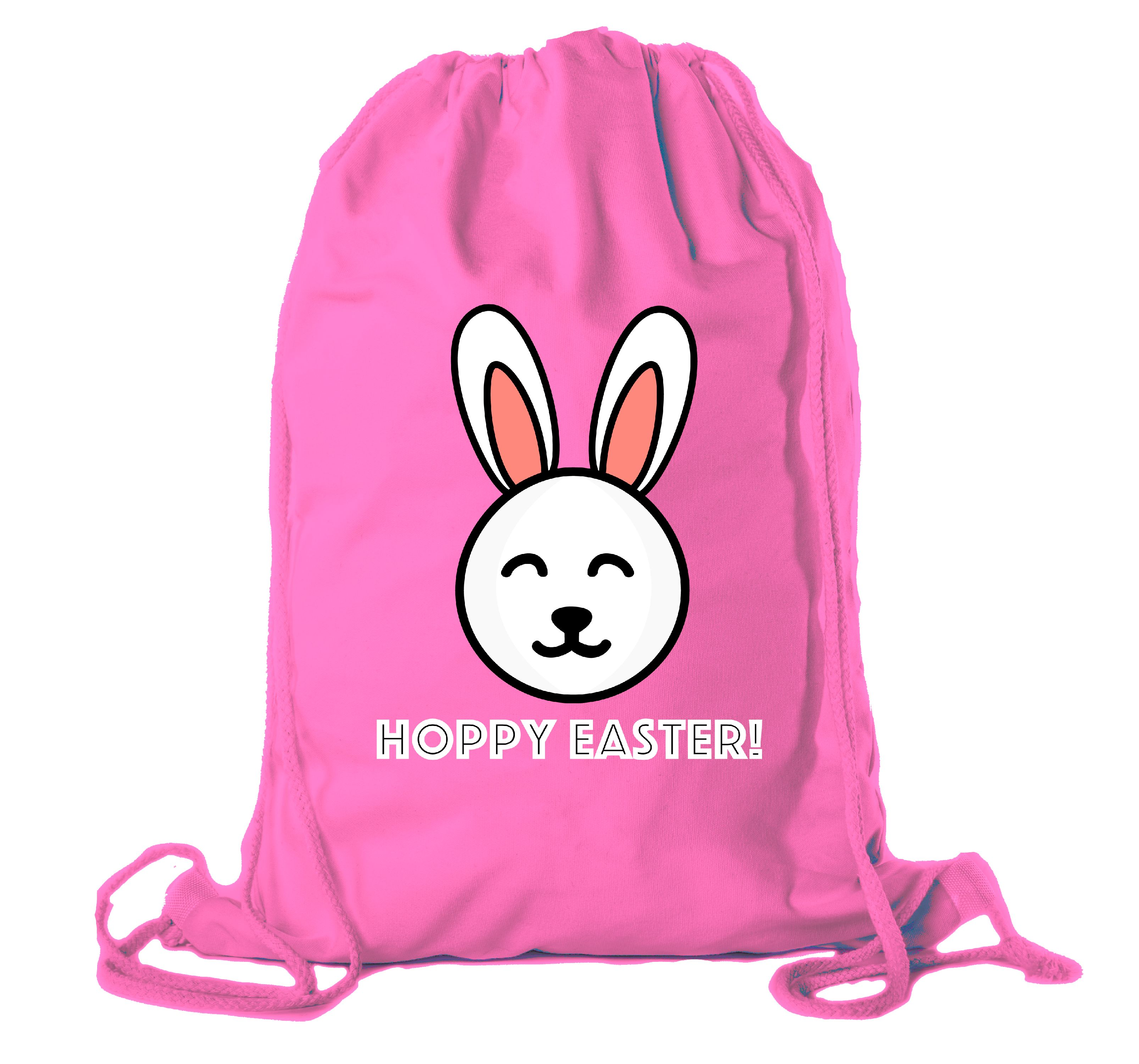 Easter Basket Backpack Bulk Cotton Drawstring Cinch Bags Easter Bunny Gift Bags - Hoppy Easter
