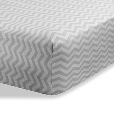 """cradle sheets Abstract bassinet sheets cradle sheets for Baby / Infant Deep Fitted Soft Jersey Cotton Knit by Abstract - 18"""" x 36"""" (Zigzag Grey)"""