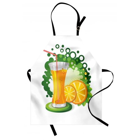 Green and Orange Apron Glass of Orange Juice with Green Toned Background with Fruit Slices Leaves, Unisex Kitchen Bib Apron with Adjustable Neck for Cooking Baking Gardening, Multicolor, by