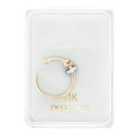14K Yellow Gold 1.7mm .02 cttw Diamond Open Hoop Nose Ring 20G