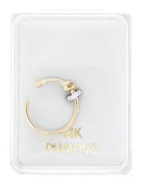 14K Yellow Gold 1.7mm .02 cttw Diamond Open Hoop Nose Ring 20G