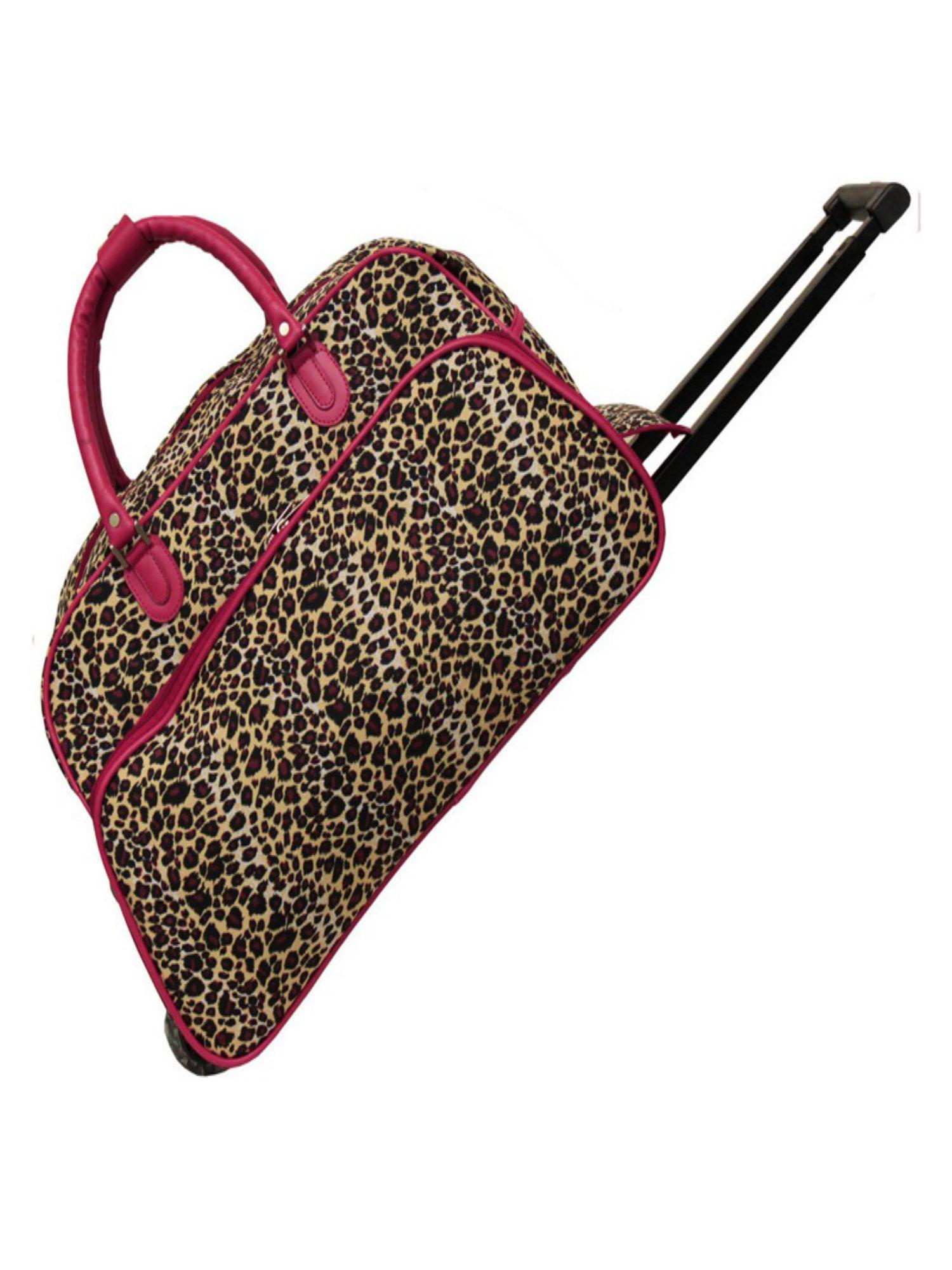 World Traveler Leopard 21 in. Rolling Duffel Bag by World Traveler