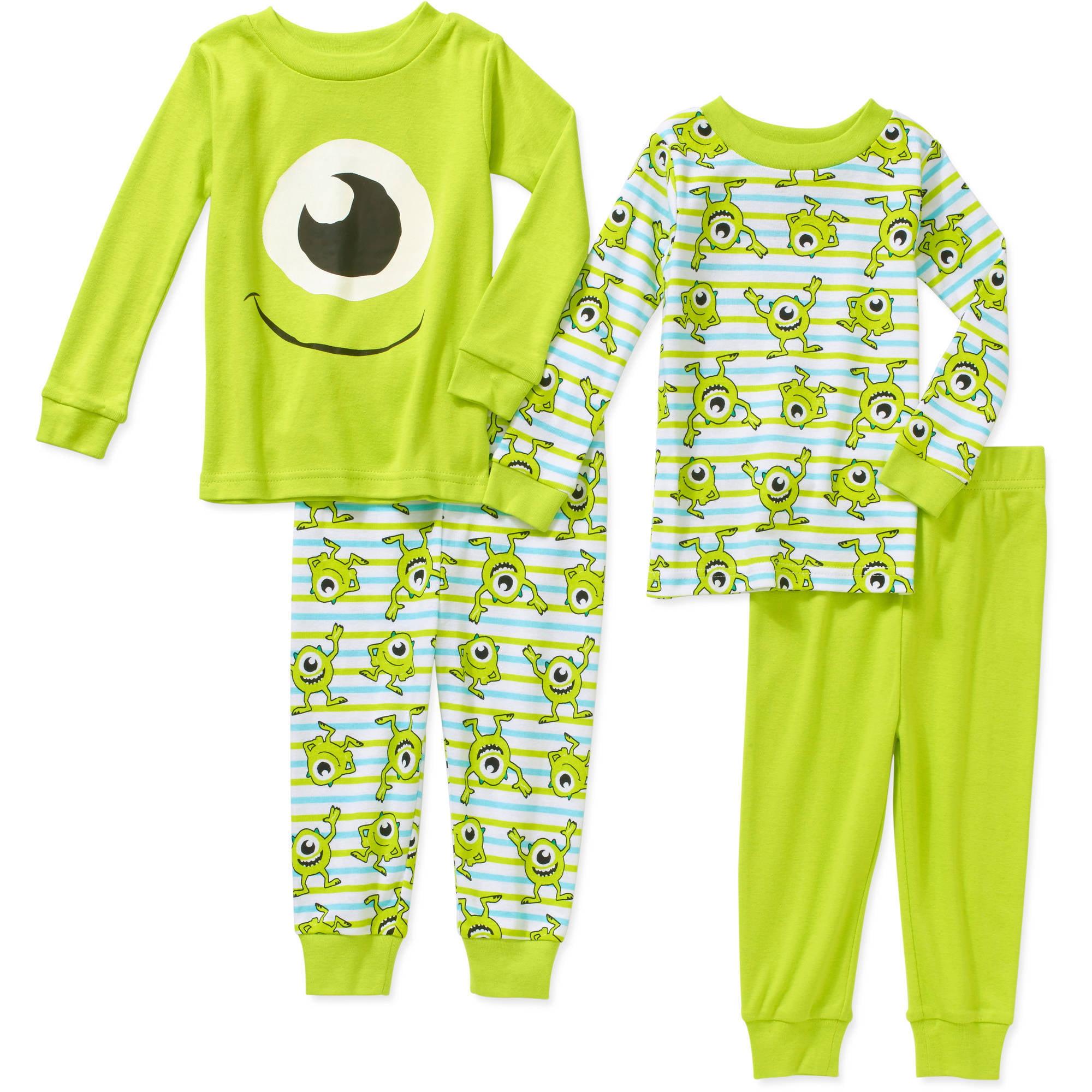 Monsters Inc. Newborn Baby Boy Cotton Tight Fit Pajamas 4pc Set