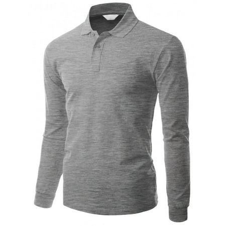 b9304385a FashionOutfit - FashionOutfit Men s Cotton Pk Silket Polo Dri Fit Long  Sleeve Collar T Shirt - Walmart.com