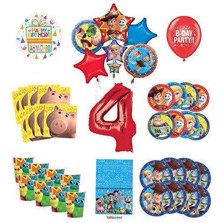 Toy Story 4th Birthday Party Supplies 16 Guest Decoration Kit with Woody, Buzz Lightyear and Friends Balloon Bouquet - Jessie Toy Story Party Supplies