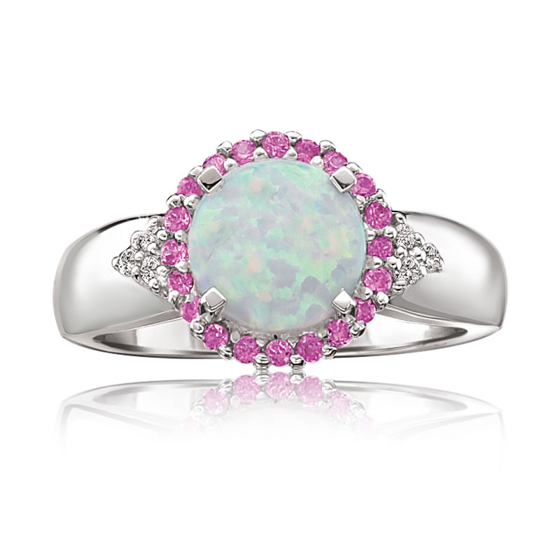 1.3 cttw 8MM White Opal Pink Sapphire Diamond Sterling Silver Ring Size 7 by Metro Jewelry