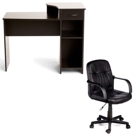 Desk and Chair Set: Mainstays Student Desk andComfort products 60-5607m mid-back leather office chair, Multiple Colors Sit Office Chairs