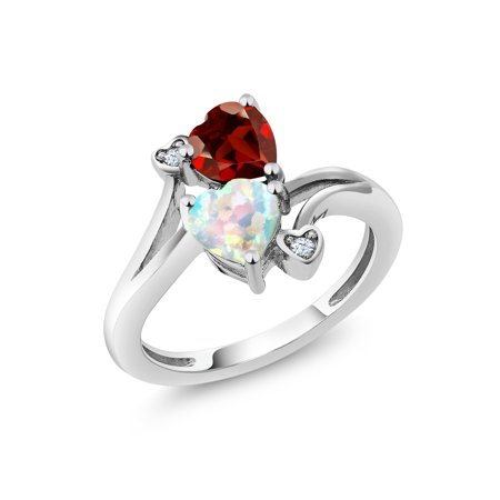 1.68 Ct Heart Shape White Simulated Opal Red Garnet 10K White Gold Ring