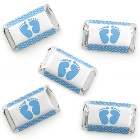 Baby Shower Candy Bar Game (Baby Feet Blue - Baby Shower Mini Candy Bar Wrappers Party Favors - 40)
