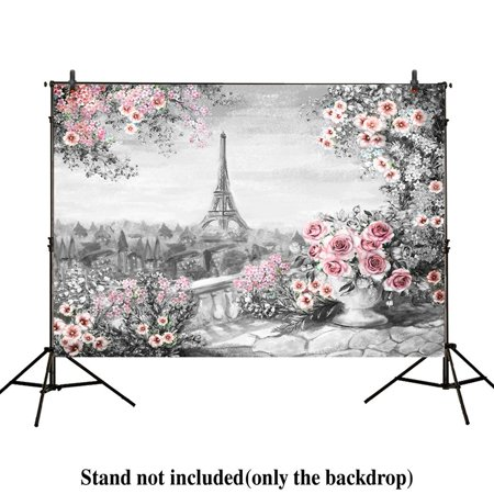 GreenDecor Polyster 7x5ft photography backdrops Spring in Paris Eiffel Tower pink Floral oil painting banner photo studio booth newborn baby shower background