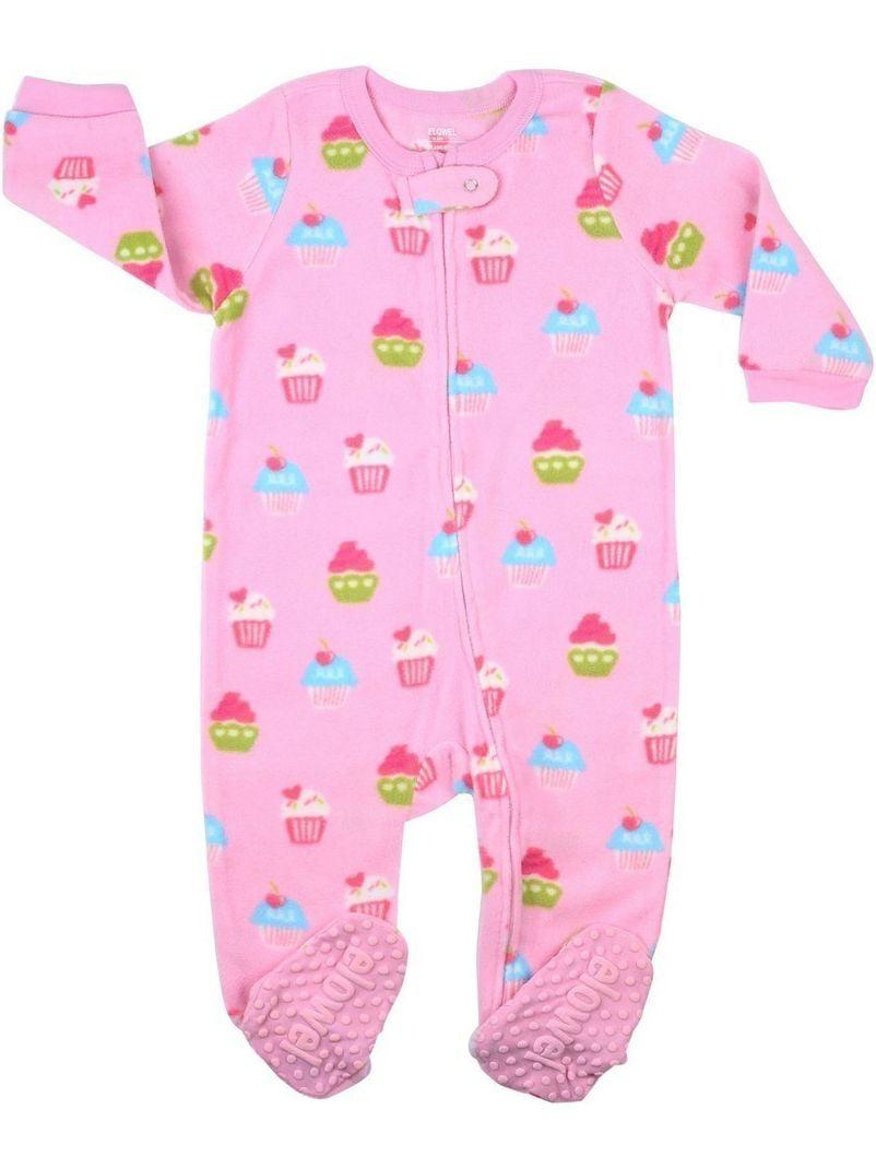 Elowel Little Girls Pink Cupcake Print Footed Fleece Sleeper Pajama