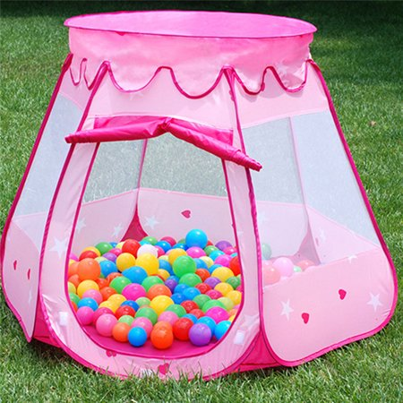 Qiilu Portable Children Kids Play Tents Outdoor Indoor Princess Play Tent for Toddler Girl Boys Game Tent Toy Playhouse Ball Tent Pink Gift for Children - Pink Tent