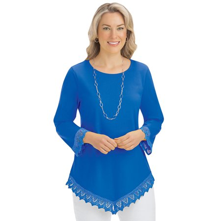 Lace Trim V-Hemline Tunic with Scoop Neckline and 3/4 Sleeves - Seasonal Knit Top 3/4 Sleeve Knit Top