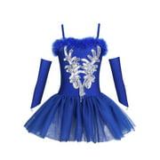 Girls Swan Dance Sequins Beads Ballet Leotard Dress with Fingerless Gloves Hair Clip
