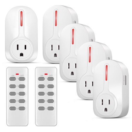 Wireless Outlet Switch with Remote Control - Wirelessly Turn Power On Off Wireless Electrical Outlet Plug for Household Appliances Lamp Light - 5 Pack with 2 Learning Code Remote Control